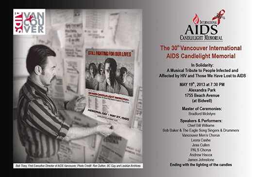 Poster 30th Vancouver International AIDS Candlelight Memorial - May 19th 2013