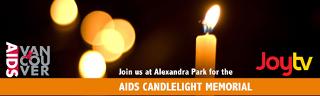 Banner: Vancouver AIDS Candlelight Memorial -May 22, 2016 - www.aidsvancouver.org