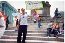 Photo: Bradford McIntyre is OUT ABOUT HIV on the steps of the Angel de la Independencia (Angel of Independence) at opening ceremonies of the XXVI Marcha Del Orgullo LGBT De La Ciudad De Mexico. Mexico, June, 2004