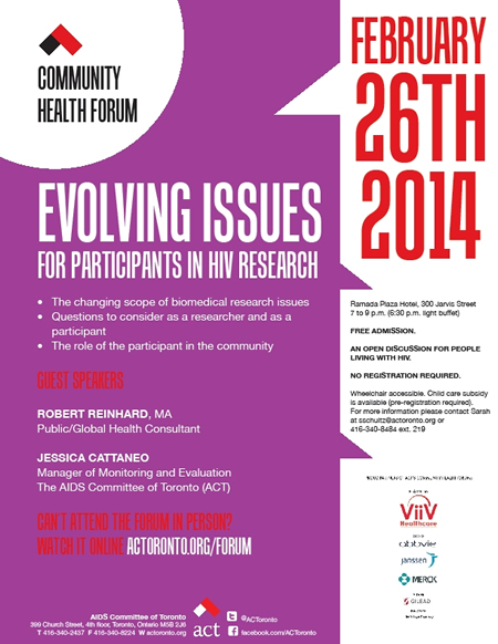 Comminity Health Forum: Evolving Issues For Participants in HIV Research - actoronto.org