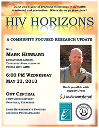 HIV Horizons:  Wednesday May 22nd at Out Central - outcentral.org