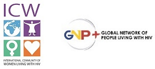 Logo: International Community of Women Living with HIV (ICW) & Global Network of People Living with HIV (GNP+) - www.gnpplus.net