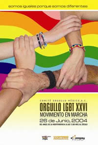 Flyer: Orgullo LGBT XXVI MOVIMENTO EN MARCHA, 26 Junio 2004, Mexico City, Mexico
