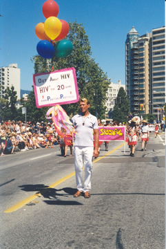 Photo: Bradford McIntyre marching in the 2004 Vancouver PRIDE Parade