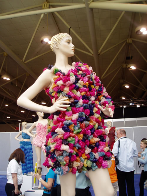 Fashion design using condoms by Adriana Bertini