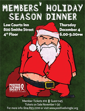 Poster: Members' Holiday Season Dinner - www.positivelivingbc.org