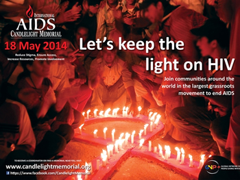 Poster: International AIDS Candlelight Memorial 2014 - www.candlelightmemorial.org