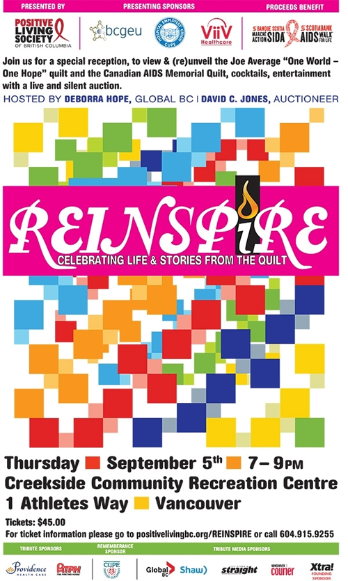 REINSPIRE: Celebrating Life & Stories from the Quilt - Positive Living BC  - www.positivelivingbc.org