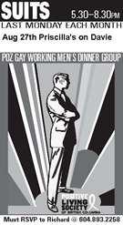 SUITS - POZ WORKING MEN'S DINNER GROUP - Suits Dinner - August 27th - www.positivelivingbc.org