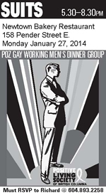 Poster: Suits Dinner - January 27, 2014 - Newtown Bakery - SUITS POZ GAY WORKING MEN'S DINNER GROUP - www.positivelivingbc.org