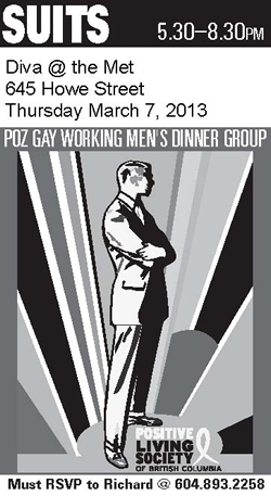 SUITS Dinner - Match 7, 2013 - POZ GAY WORKING MEN'S DINNER GROUP - www.positivelivingbc.org