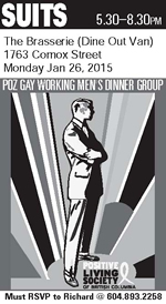 Poster: Suits - Poz Gay Working Men's Dinner Group - Monday January 26, 2015 - The Brasserie - www.positivelivingbc.org