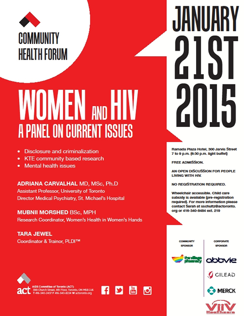 Poster: ACT Community Health Forum - A PANEL ON CURRENT ISSUES - JANUARY 21ST 2015 - www.actoronto.org