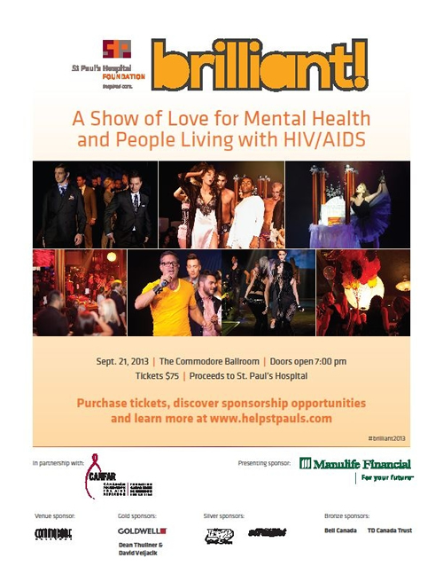 Poster: brilliant! A Show of Love for Mental Health and People Living with HIV/AIDS - St. Paul's Hospital Foundation
