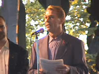 Photo: Bradford McIntyre, Opening Speaker, at the 20th Annual International AIDS Candlelight Vigil.