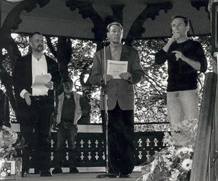 Photo: Bradford McIntyre - Guest Speaker - 20th Annual International AIDS Candlelight Vigil - May 25th 2003, Vancouver, BC, Canada.